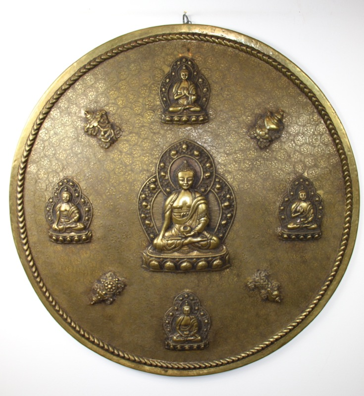 Brass Round Buddha Plate with Auspicious Signs