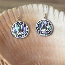Silver and Paua Shell Lotus Earrings