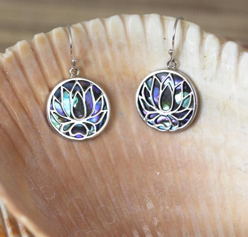 Silver and Paua Shell Lotus Earrings