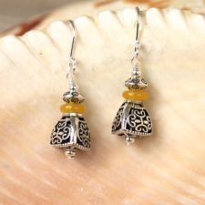Handcrafted sterling silver and honey jade earrings