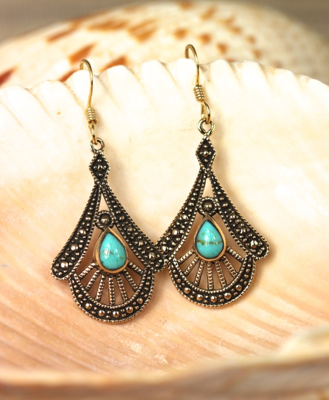 Handcrafted bronze and turquoise with granulation earrings