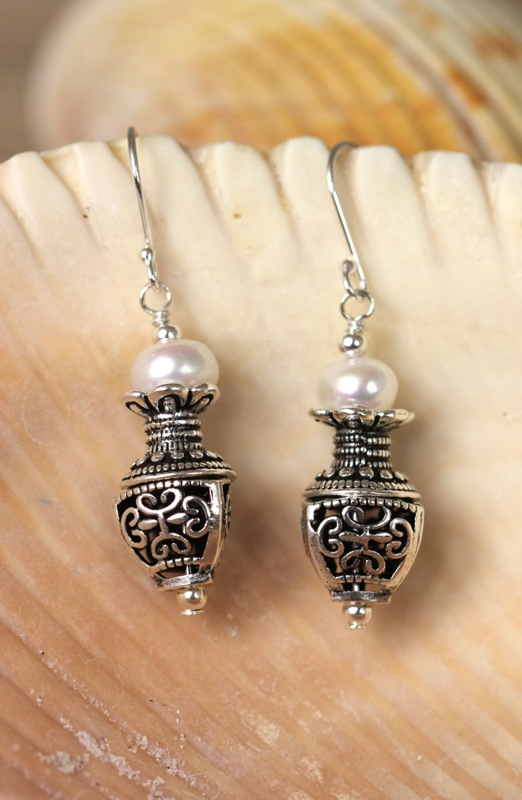 Handcrafted sterling silver and pearl earrings