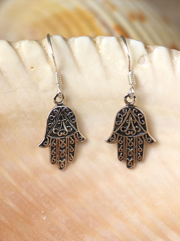 Handcrafted sterling silver filigree hamsa earrings