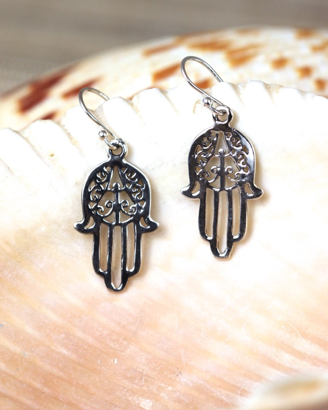 Handcrafted sterling silver cutout hamsa earring