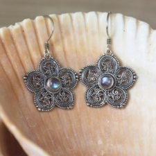 Silver Flower and Blue Topaz Earrings