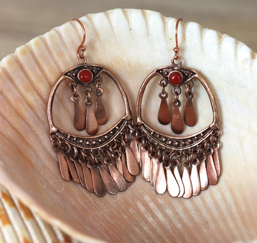 Copper and Carnelian Dangly Earrings