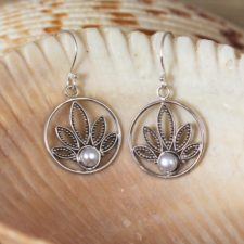 Silver and Pearl Lotus Earrings