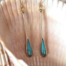 Bronze and Turquoise Long Earrings
