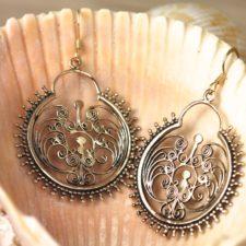 Bronze Drop Hoop Earrings