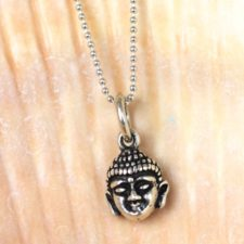 Silver Mini Buddha Head Necklace