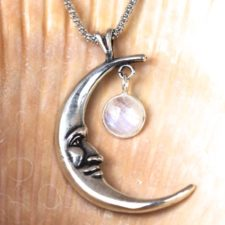 Silver Crescent Moon and Moonstone Necklace