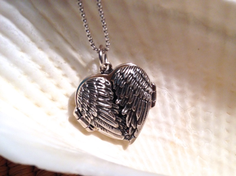 Silver Angel Wings Locket Necklace