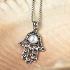 Silver Hamsa with Paua Shell Necklace