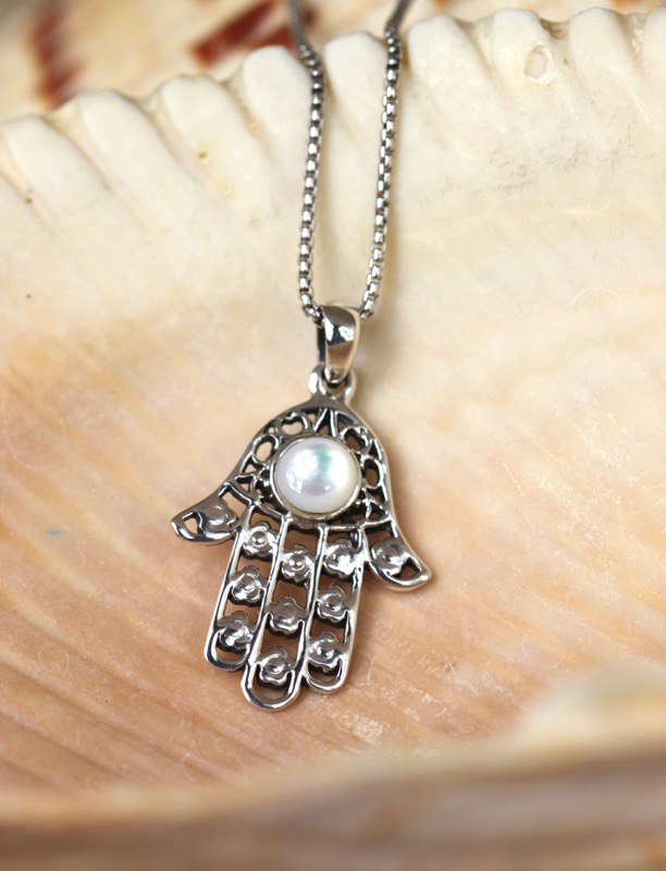 Silver Hamsa with Paua Shell Necklace