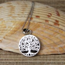 Silver Tree Of Life With Onyx Necklace