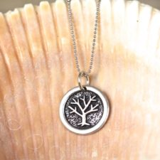 Oxidized Round Tree Necklace