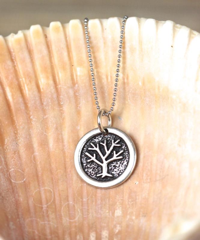 Oxidized Round Tree Necklace