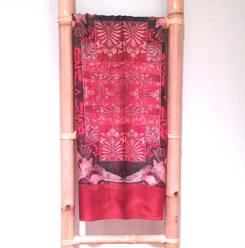Handprinted Silk Scarf- Red