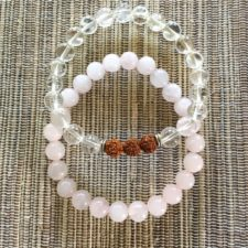 Clear Quartz and Rose Quartz Bracelet Set