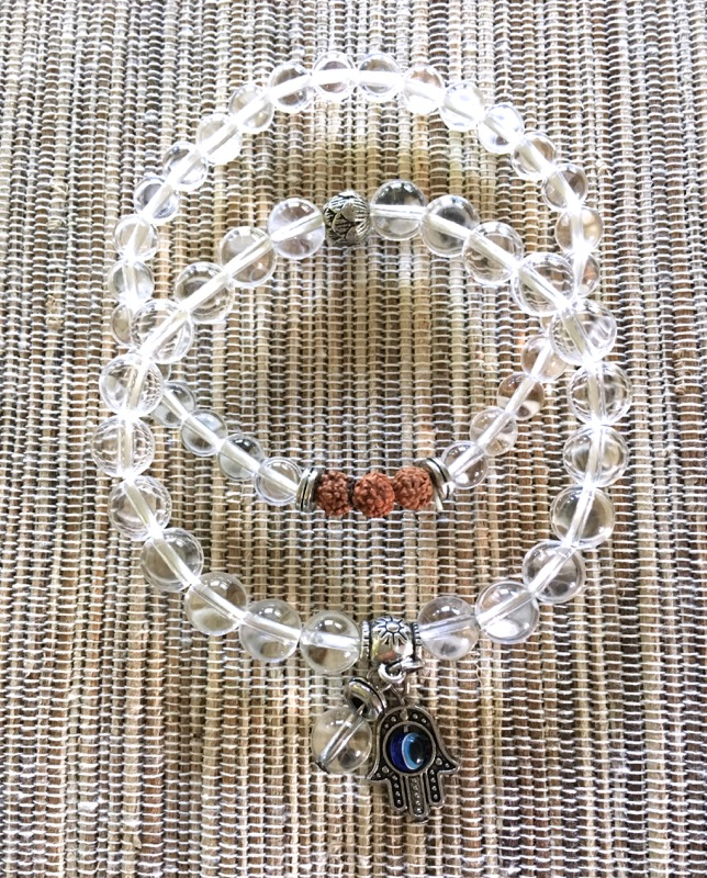 Clear Quartz Hamsa and Rudrakshya Bracelet Set