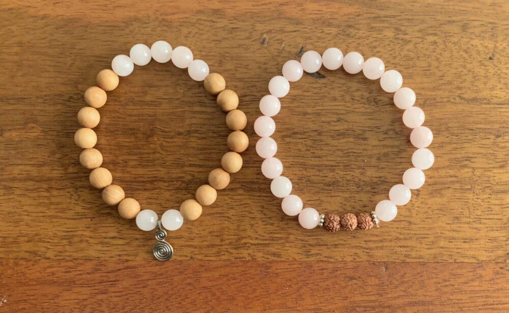 Rose Quartz Crystal & Cedarwood Bracelet Set