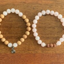 Rose Quartz Crystal & Cedarwood Bracelet Set