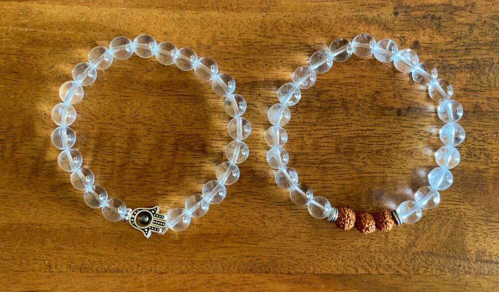 Clear Quartz Hamsa & Crystal Rudrakshya Bracelet Set
