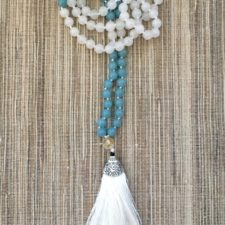 Milky Quartz and Aquamarine Bead Mala