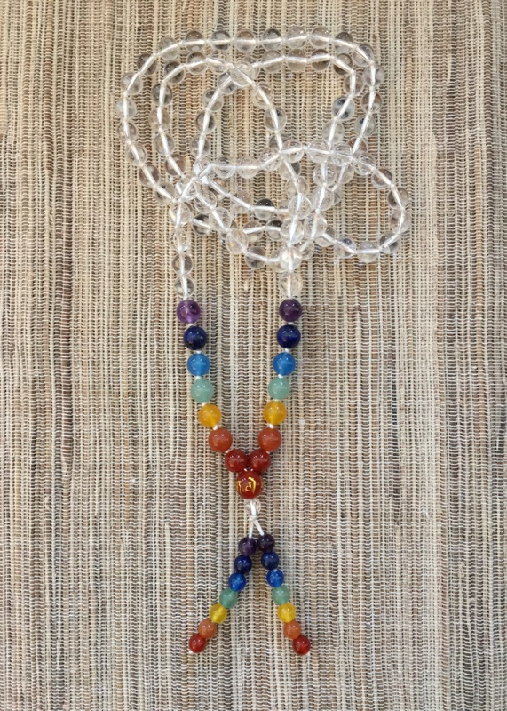 Clear Quartz and Seven Chakra Bead Mala