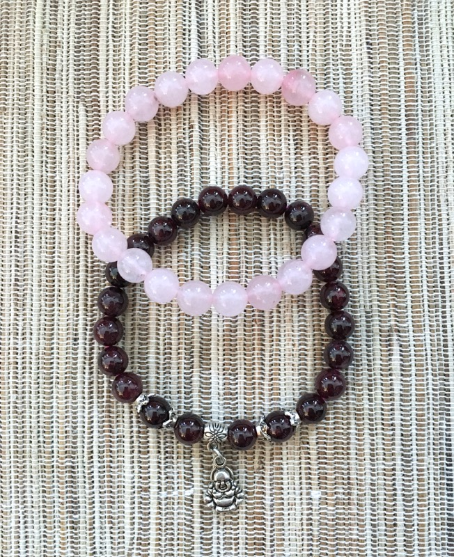 Rose Quartz and Garnet with Happy Buddha Bracelets