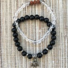 Clear Quartz, Onyx, Rudrakshya with Elephant Bracelets