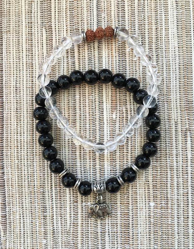 Clear Quartz, Onyx, Rudrakshya with Elephant Bracelets