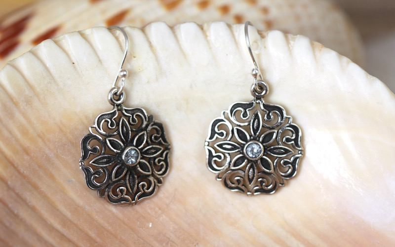 Silver Flower Earrings with Blue Topaz