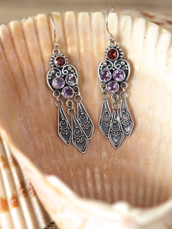 Silver Dangle Earrings with Amethyst and Garnet