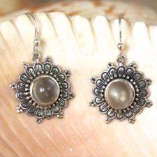 Silver Flower Earrings with Moonstone