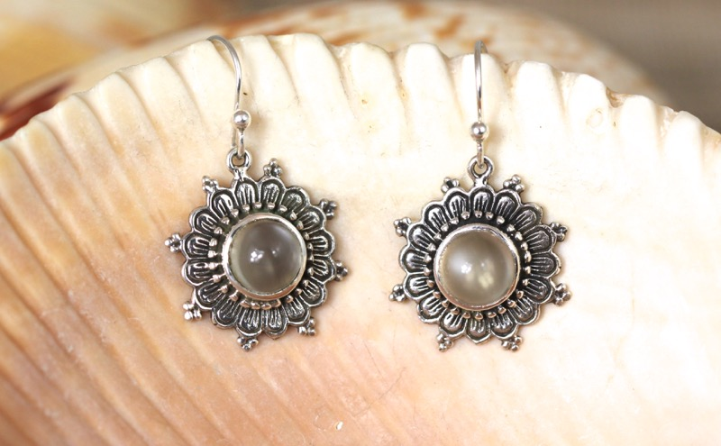 Silver Flower Earrings with Moonstone