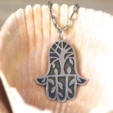Silver Tree of Life Hamsa Necklace