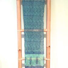 Chiffon Block Print Scarf - Blue-Green