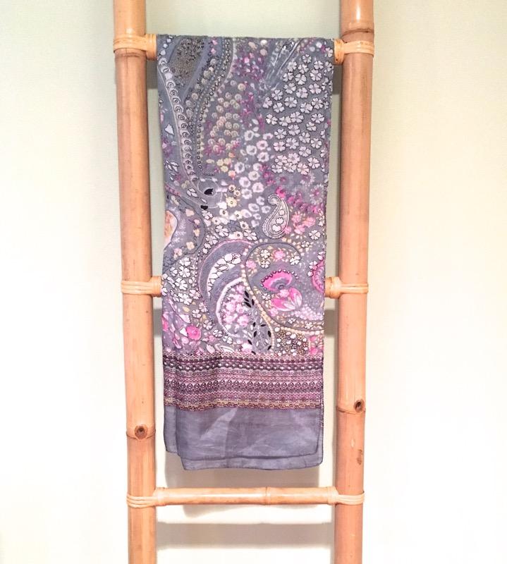 Classic Silk Scarf- Multi Paisley Print