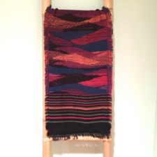 Extra long, artfully striped scarf / Fuchsia