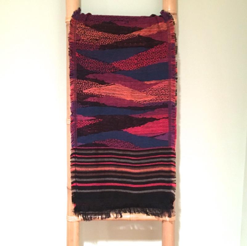 Extra long, artfully striped scarf / Fuchsia