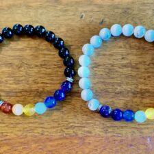 Black Onyx & Howlite 7 Chakra Crystal Bracelet Set