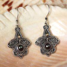 Silver filigree earrings w/ smokey pearl