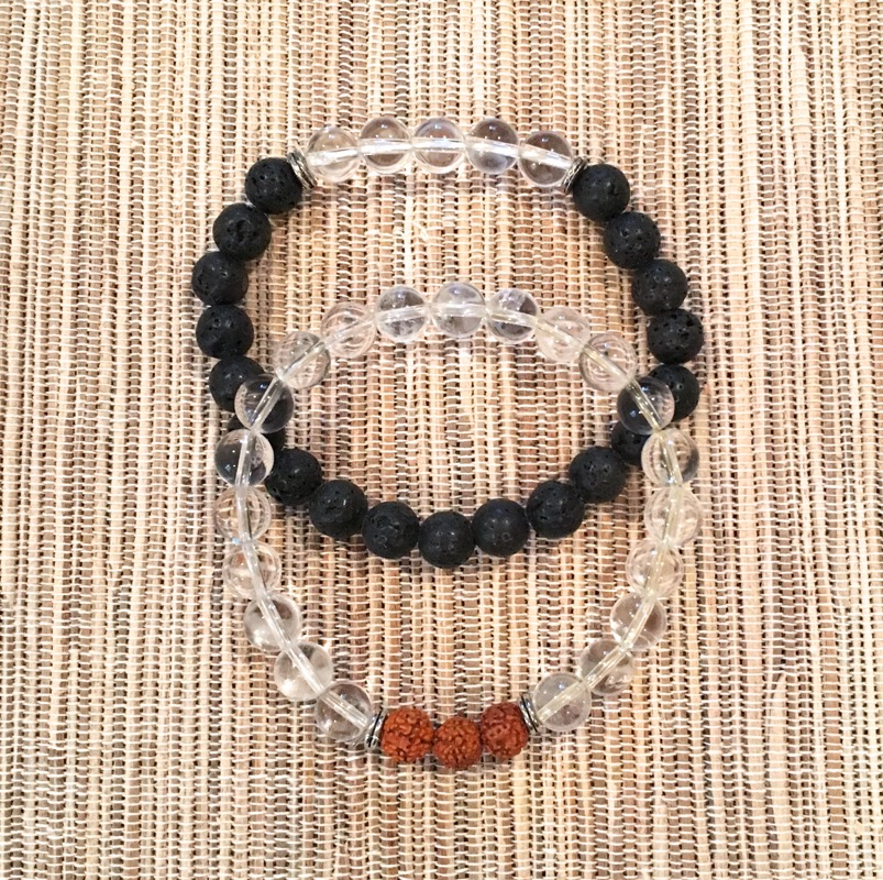 Clear Quartz w/ Rudrakshya and Lava wi/Clear Quartz Bracelets