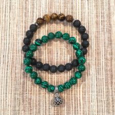 Malachite and Lava w/Tiger's Eye Bracelet Set