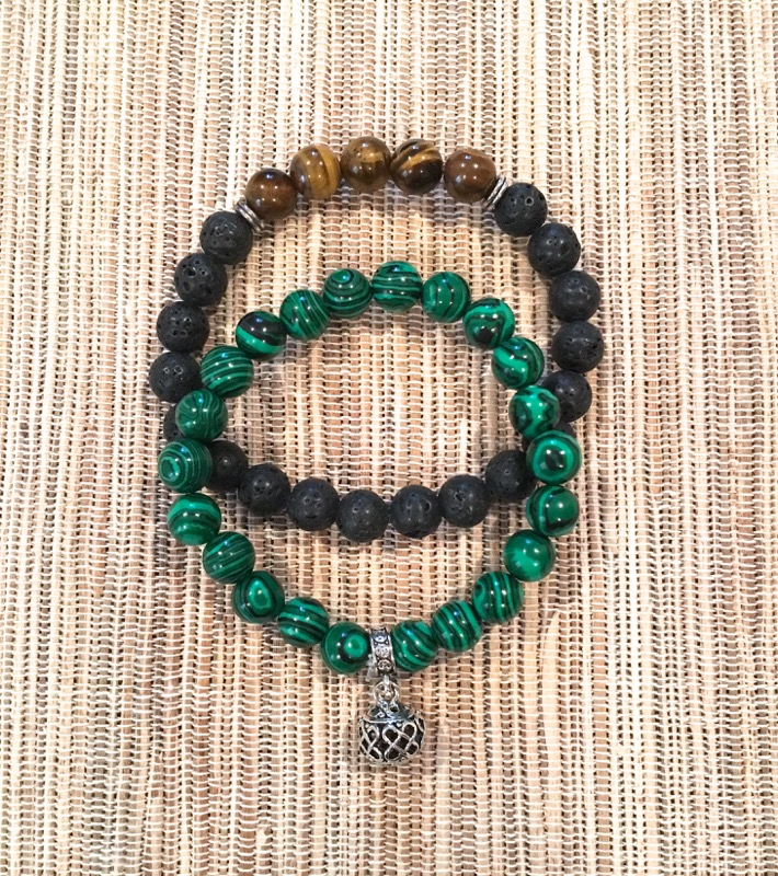 Malachite and Lava w/Tiger's Eye Bracelet Set