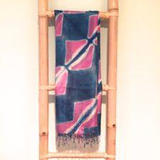 Indigo & Pink Squares Silk Scarf