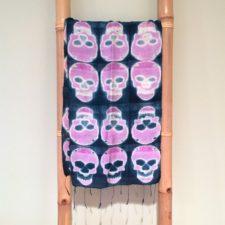 Indigo & Pink Skull Scarf
