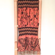Rayon Jacquard Scarf- Orange & Black