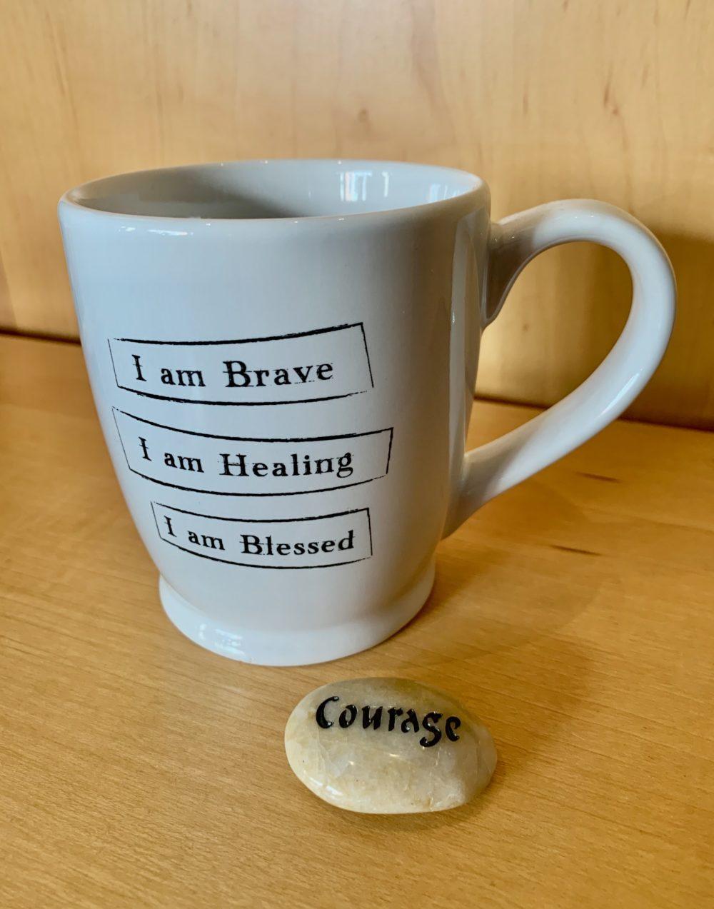 I am Brave, I am Healing, I am blessed Mantra Mug and Courage Talistone